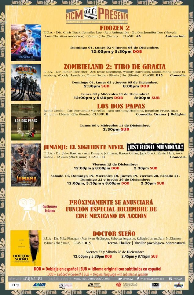 Cartelera del mes de Diciembre ¡Nos Vemos en el Cine!