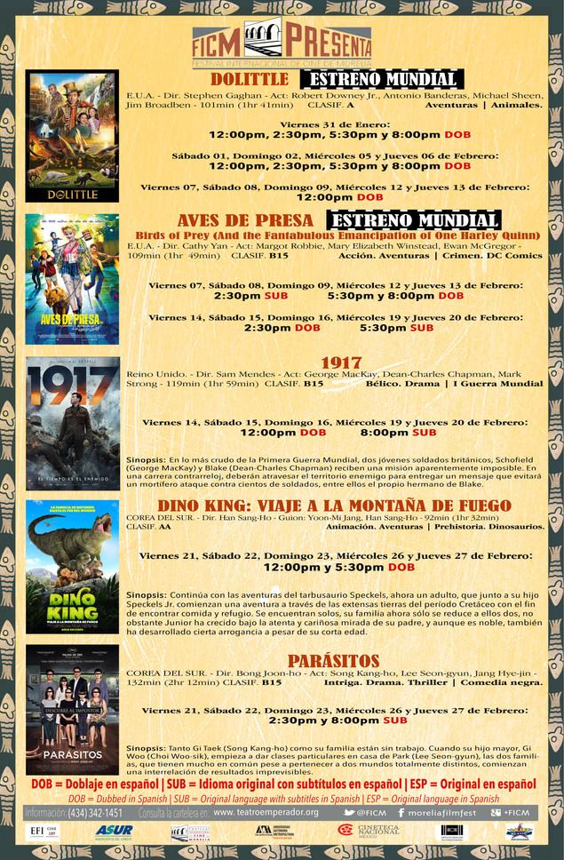CARTELERA DEL MES DE FEBRERO 2020 (SEDE TEATRO EMPERADOR CALTZONTZIN)