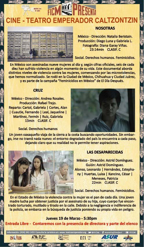 """Cartelera """"Cine Mexicano en Acción del mes de Marzo ¡Te esperamos!"""