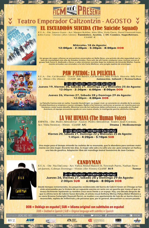 Segunda Cartelera del mes de Agosto ¡Nos Vemos en el Cine!