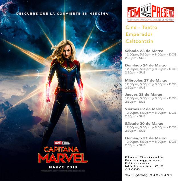 "Disfruta de la película ""Capitana Marvel"" en Pátzcuaro."