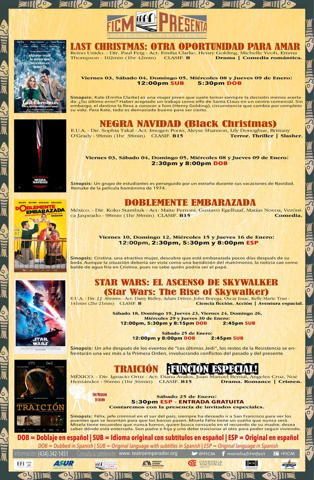 Cartelera del mes de Enero 2020 ¡Nos Vemos en el Cine!