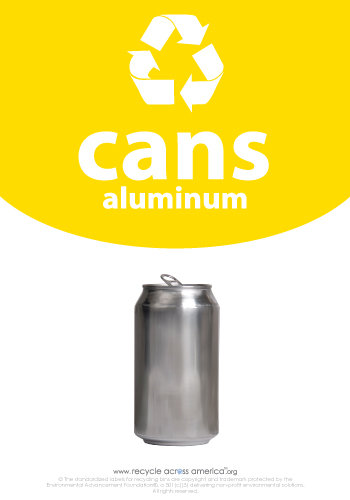 "Aluminum Cans - Recycling Label 7"" x 10"