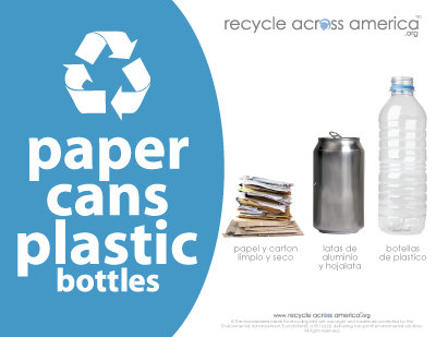 "Paper/Cans/Plastic - Recycling Label 8.5"" x 11"""