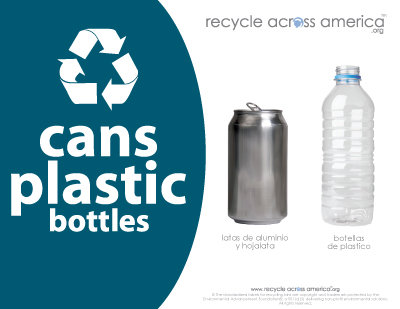 """Cans and Plastic - Recycling Label 8.5"""" X 11"""""""