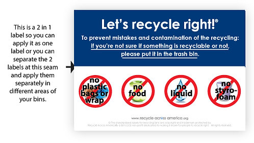"Let's Recycle Right  - Label 3.5"" X 5"""