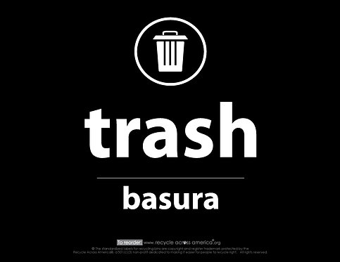 "Trash - Label 8.5"" X 11"""