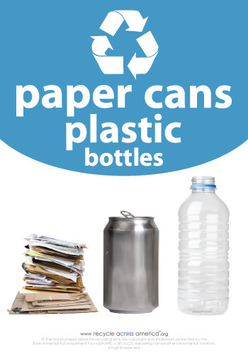 """Paper/Cans/Plastic - Recycling Label 7"""" x 10"""""""