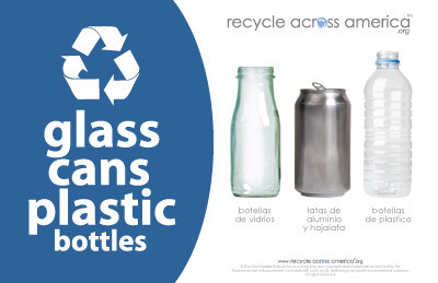 "Glass/Cans/Plastic - Recycling Label 5.5"" x 8.5"""