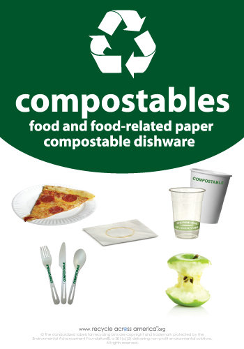 "Compostables - Recycling Label 7"" x 10"""