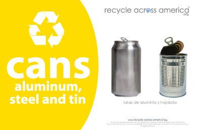 "Aluminum/Steel/Tin - Recycling Label 5.5"" X 8.5"""