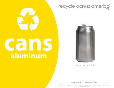 "Aluminum Cans - Recycling Label 8.5"" x 11''"