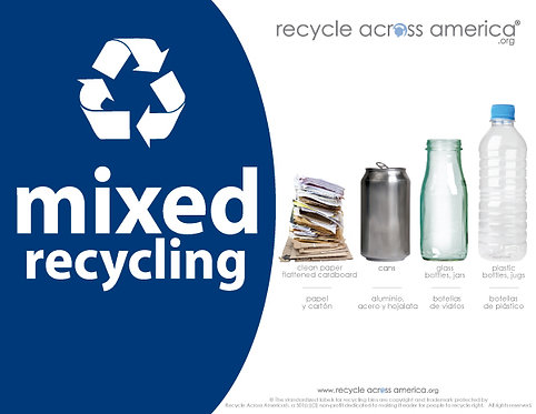 "Mixed - Standardized Recycling Label 8.5"" x 11"""