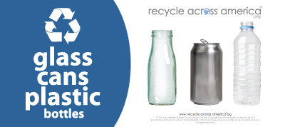 """Glass/Cans/Plastic - Recycling Label 4"""" x 9"""""""