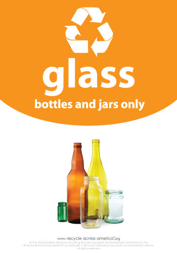 """Glass - Recycling Label 7"""" x 10"""