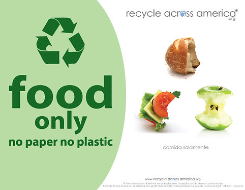 "Food - Recycling Label 8.5"" X 11"""