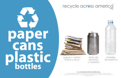 "Paper/Cans/Plastic - Recycling Label 5.5"" x 8.5"""