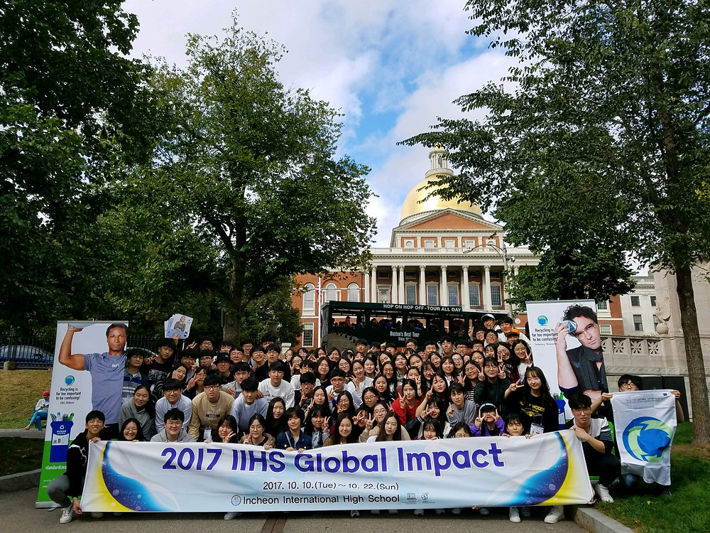 students from Incheon International High School in South Korea have traveled to the United States with the mission to help Americans recycle right.