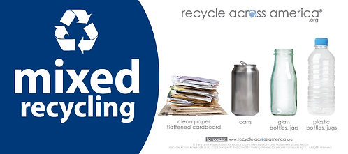 "Mixed - Standardized Recycling Label 4"" x 9"""
