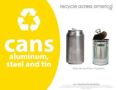 "Aluminum/Steel/Tin - Recycling Label 8.5"" x 11''"