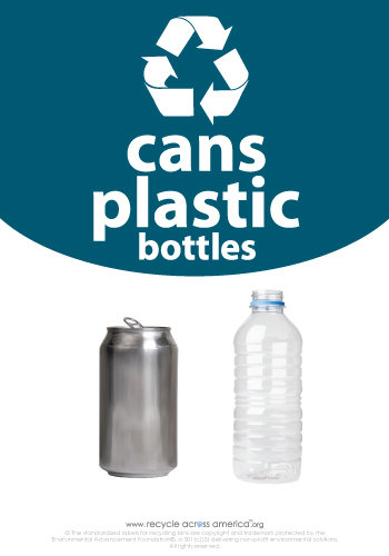 "Cans and Plastic - Recycling Label 7"" x 10"""