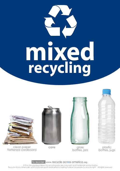 "Mixed - Standardized Recycling Label 7"" x 10"""