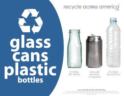 "Glass/Cans/Plastic - Recycling Label 8.5"" x 11"""