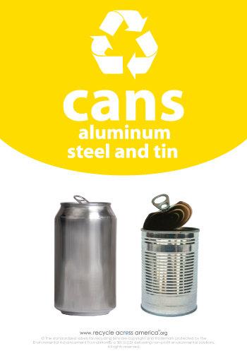 "Aluminum/Steel/Tin - Recycling Label 7"" x 10"""