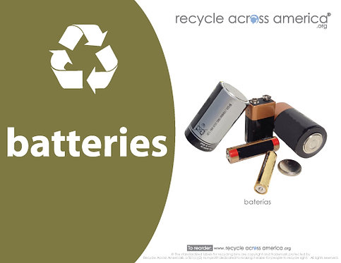 "Batteries -Recycling Label 8.5"" X 11"""