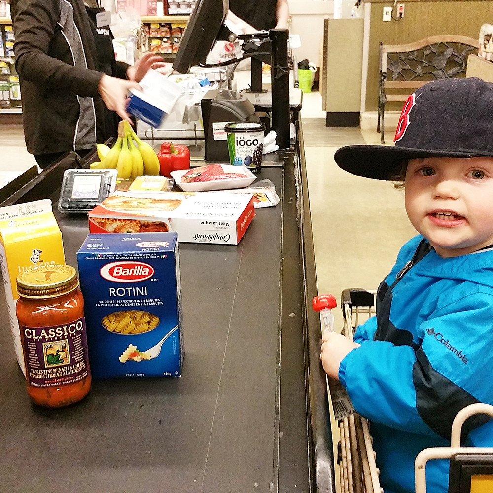 getting grocery run with my kid