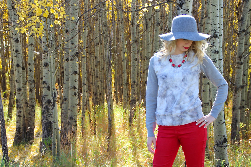 Style Doesn't Come with a price tag with Hat from Aldo, floral print top from Joe Fresh and red pants from Costco