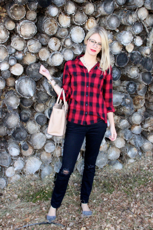 Style doesn't come with a price tag with plaid shirt and dark blue jean from Gap Factory