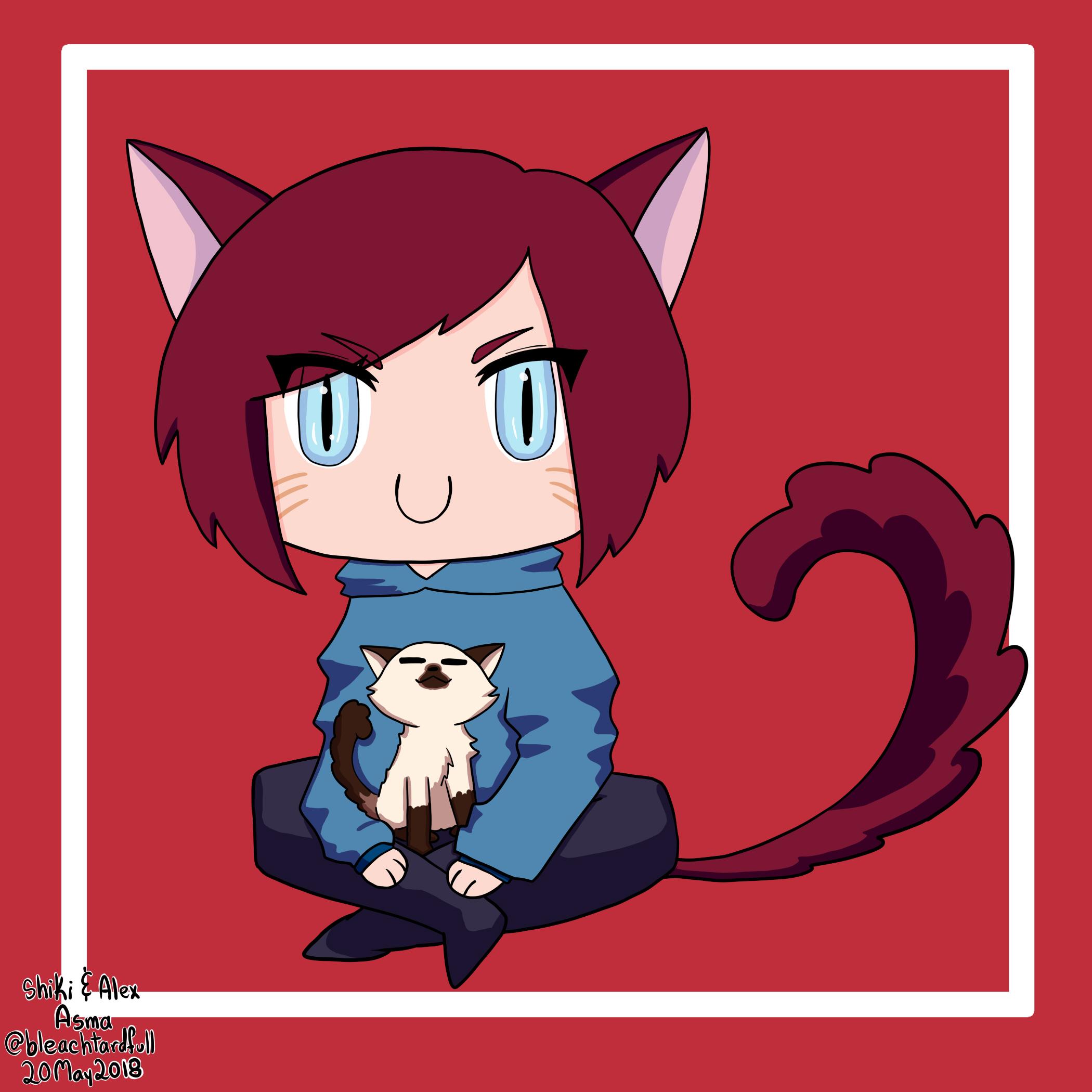 Shiki and her cat Alex