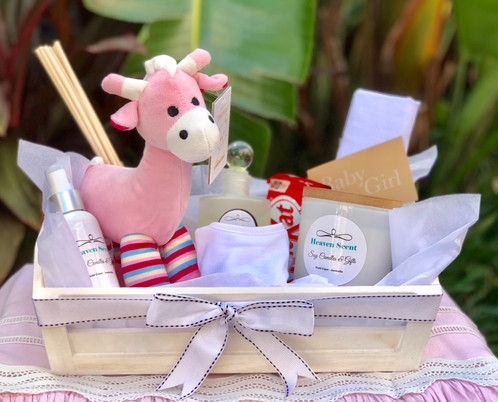 New arrival baby gift baskets heaven scent soy candles and gifts new arrival baby gift baskets negle Image collections