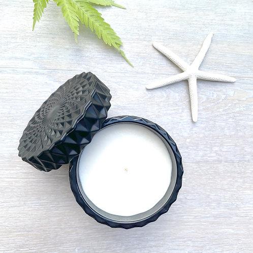 Matt Black Mandala Canister Soy Candle