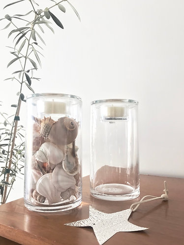 Glass Vase Cylinder with Tea light Holder