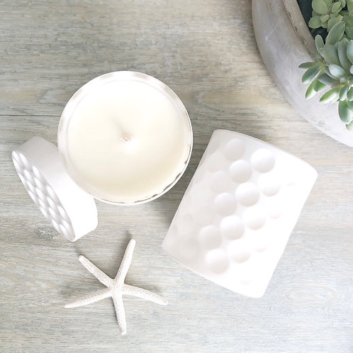 White Matt Dimple Jar Soy Candle