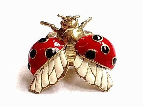 Lady bug ring in Brass