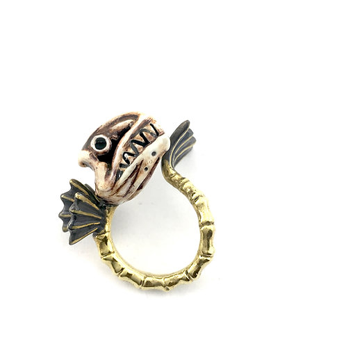 Pisces Fish bone Zodiac ring Realistic