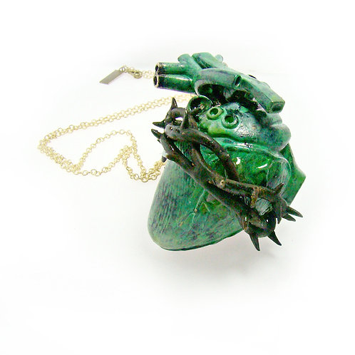 Patina Heart of thorn pendant in brass