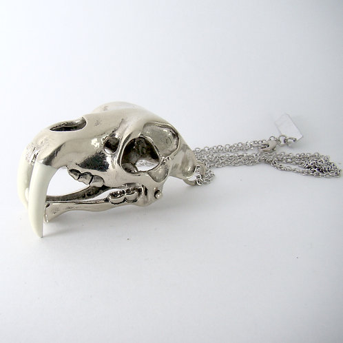 Saber tooth pendant in white bronze