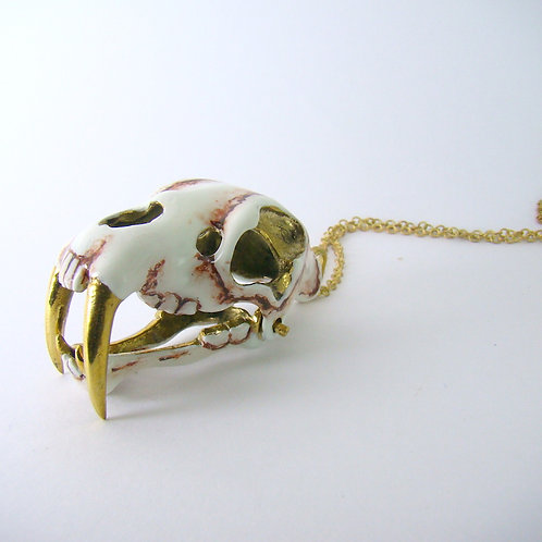 Realistic Saber tooth pendant in brass