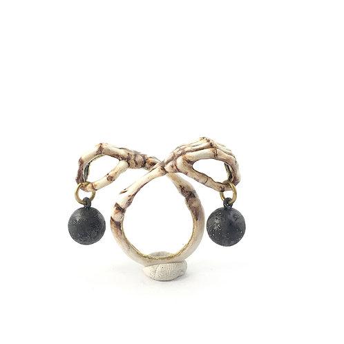 Libra Scales hand bone Zodiac ring Realistic