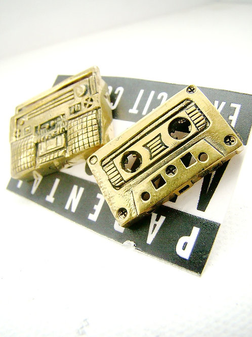 Golden Brass tape cassette and radio studs earring