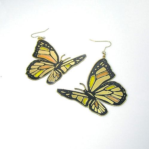 Orange Butterfly  stand glass  earring