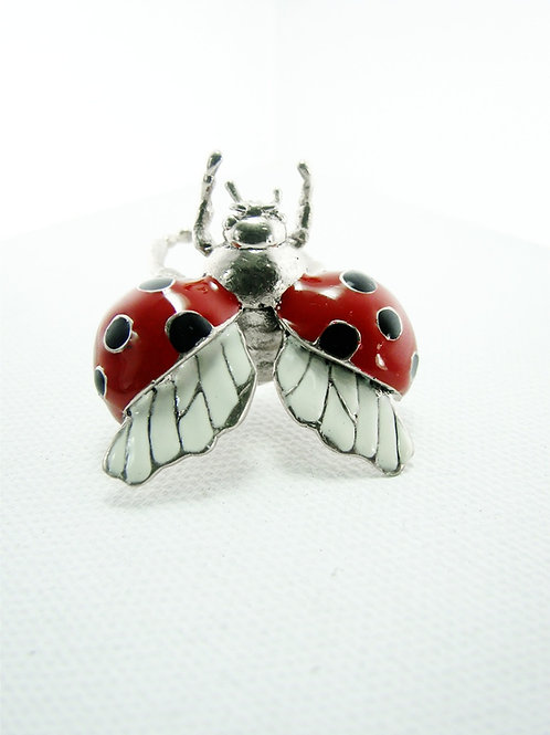 Lady bug ring in White bronze