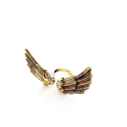 Angel wing ring in brass