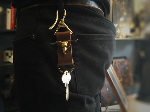 Handcrafted vintage bull skull key chain in brass and oxidized color