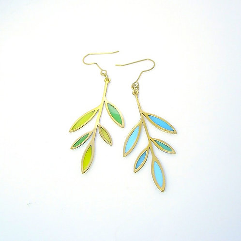 Bamboo leaf stand glass  earring in brass