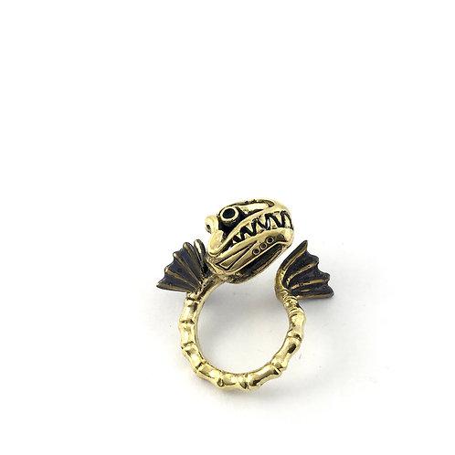 Pisces Fish bone Zodiac ring in Brass